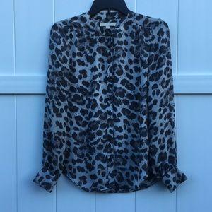 Banana Republic gray leopard blouse